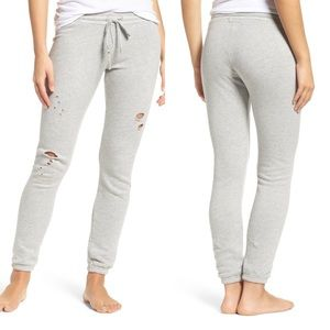 Michael Lauren distressed joggers heather gray